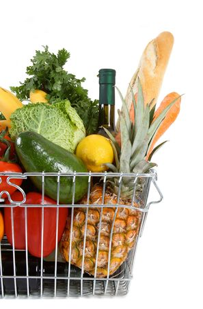 grocery cart: Shopping basket filled with fresh fruit and vegetables