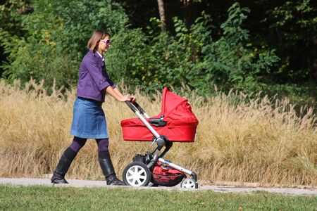 baby carriage: Young mother pushing pram in park on sunny day