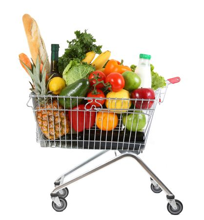 supermarket checkout: metal shopping trolley isolated on white background Stock Photo