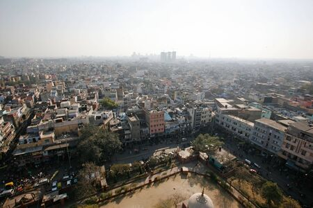Delhi, India - 11 February. View of  Old Delhi from Jama Masjid minaret on 11 Feb, 2008. An overly-built and populated capital has its affects on air pollution, especially during summer. photo
