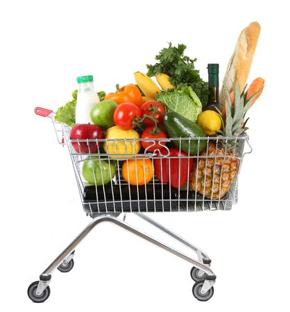 shopping buggy: metal shopping trolley isolated on white background Stock Photo