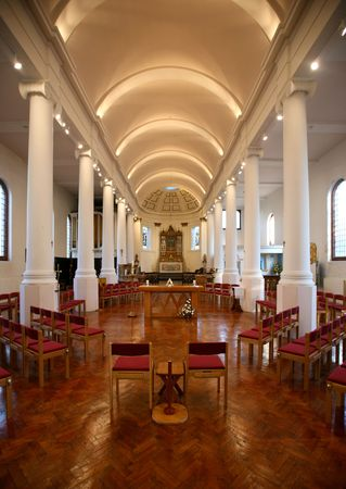 Interior view of church in Portsmouth, UK