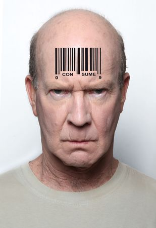 symbol victim: Angry consumer with a bar code on his forehead Stock Photo