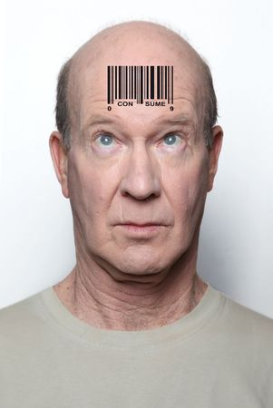Surprised consumer with a bar code on his forehead photo