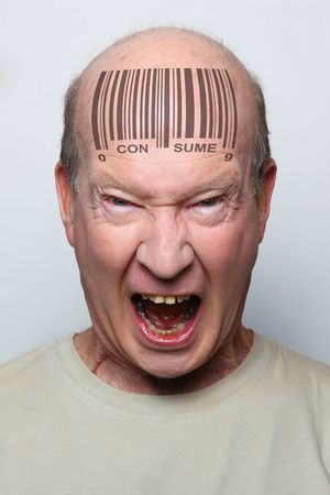 Angry consumer with a bar code on his forehead Stock Photo - 6668578