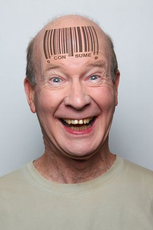 idiotic consumer with a bar code on his forehead photo