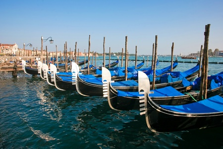Group of gondolas docked on the water. photo