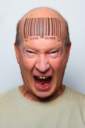 Angry consumer with a bar code on his forehead Stock Photo - 8941089