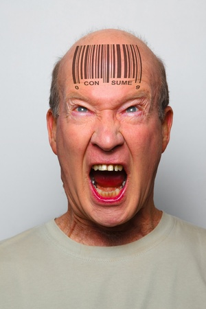 Angry consumer with a bar code on his forehead Stock Photo - 8941092