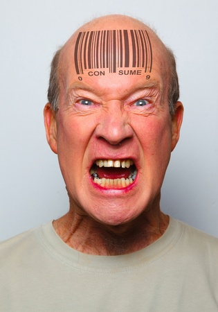 Angry consumer with a bar code on his forehead Stock Photo - 8941090