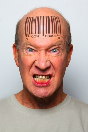 Angry consumer with a bar code on his forehead Stock Photo - 8941086