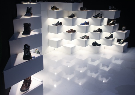 templehof: BERLIN - JANUARY 19:  Shoe display at Bread & Butter fair on January 19, 2011 in Berlin, Germany. Tens of thousands of visitors attended the tradeshow this year. Editorial