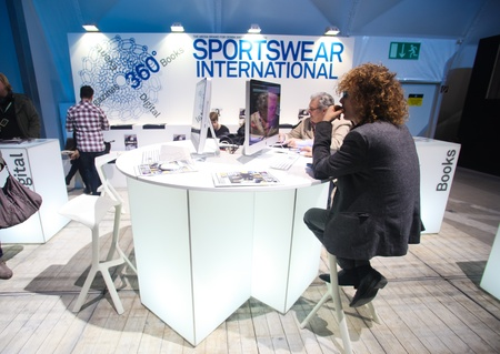 templehof: BERLIN - JANUARY 19: Sportwear stand at Bread & Butter fair on January 19, 2011 in Berlin, Germany. Tens of thousands of visitors attended the tradeshow this year.