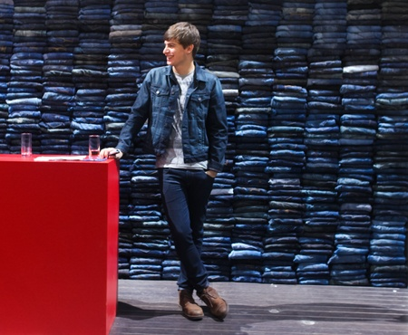 BERLIN - JANUARY 19:  Jean display at Bread & Butter fair on January 19, 2011 in Berlin, Germany. Tens of thousands of visitors attended the tradeshow this year. Stock Photo - 8822315