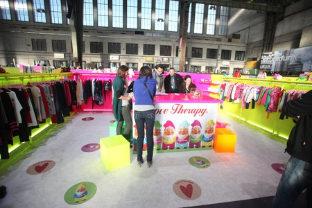 templehof: BERLIN - JANUARY 19: Love Therapy stand at Bread & Butter fair on January 19, 2011 in Berlin, Germany. Tens of thousands of visitors attended the tradeshow this year.