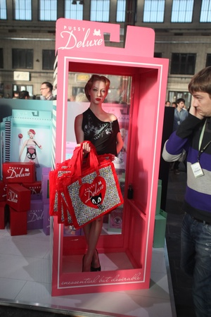 templehof: BERLIN - JANUARY 19:  Human doll on stand of Pussy Deluxe at Bread & Butter fair on January 19, 2011 in Berlin, Germany. Tens of thousands of visitors attended the tradeshow this year.