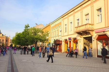 NOVI SAD - APRIL 18: People walking in pedestrian shopping area on April 18, 2010 in Novi Sad, Serbia. Novi Sad is Serbias second largest city after Belgrade