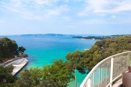 krk: Panoramic view of adriatic sea from Krk island Croatia Editorial