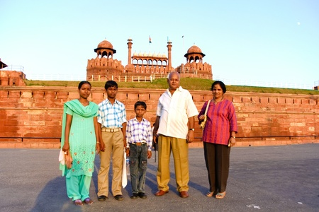 family outing: DELHI - SEPTEMBER 22: Family visiting the Red Fort on September 2, 2007 in Delhi, India. It is the most visited tourist site in India after the Taj Mahal. Editorial