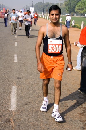 hairy chest: DELHI - October 28: Young man competing in marathon race on October 28th, 2007 in Delhi, India.