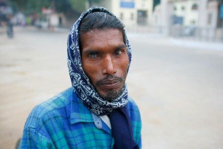 poverty india: DELHI - JANUARY 18: Rickshaw driver with cataract in one eye on January 18, 2008 in Delhi, India. Its estimated that 20 million people were blind due to cataract in India.