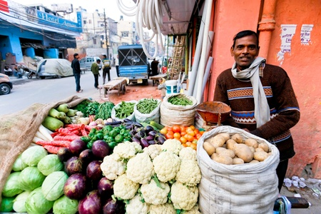 DEHLI - JANUARY 31. Vegetable street vendor with his mobile stand on January 31, 2008 in Delhi, India. Most mobile vendors are illegal and have to either run away from the police or pay them bribes.
