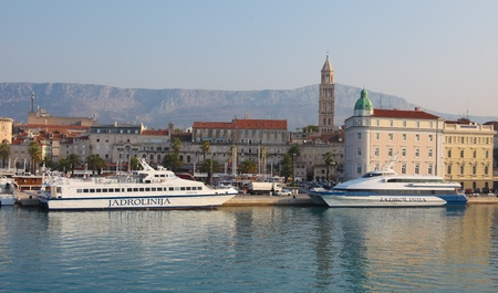 SPLIT - SEPTEMBER 24: Passenger cataraman boats in harbour on September 24, 2011 in Split, Croatia. Split is Croatias main tourist harbour connecting all Adriatic islands.