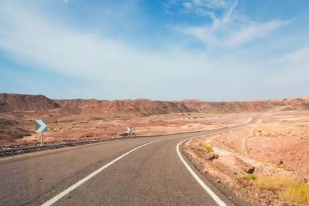 sinai desert: Desert road in the Sinai desert in Egypt