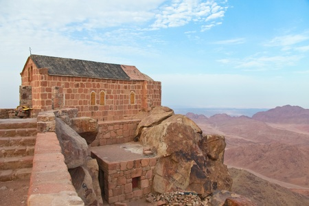 sinai: Greek orthdox chapel on mount sinai  moses mountain at 2285m in Egypt