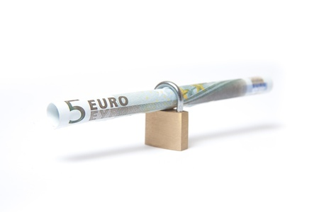echange: Secured Euro bill rolled into padlock on isolated white background