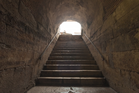 Old stone stairs in basement in Split, Croatia Stock Photo