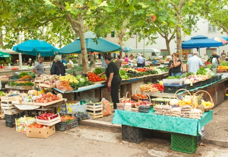 SPLIT - JULY 25  People buying local produce on July 25, 2012 in Split, Croatia  Stari Pazar is Split Editorial
