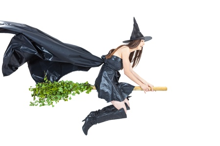 flying witch: eco witch flying on her eco broom