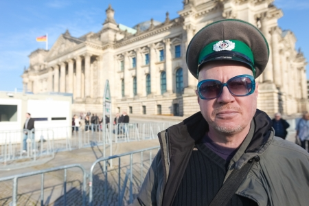 disillusioned: BERLIN - NOVEMBER 3, 2011: Protester in front of the Bundestag on November 3, 2011 in Berlin, Germany. Citizens are becoming more disillusioned with the current political system.