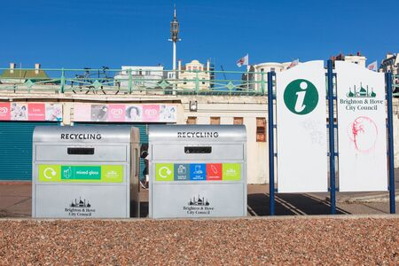 BRIGHTON, UK - FEBRUARY 8, 2011: Recycle bins on beach on February 8 2011 in Brighton, UK. 95% of all material recycling is done in the UK.