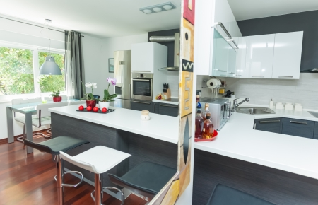 Modern interior of open-plan kitchen and living room Stock Photo - 17259896