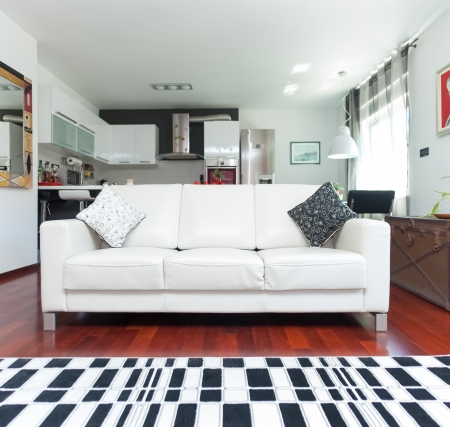 perspective room: Modern living room with sofa and checkered carpet