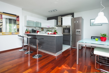 Beautiful modern kitchen in designer house Stock Photo - 16467364