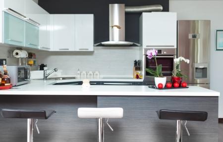 modern kitchen: Beautiful modern kitchen in designer house Stock Photo