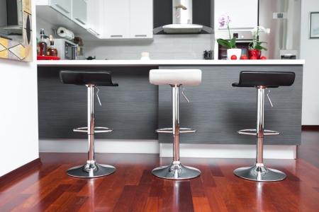 Beautiful modern kitchen in designer house Stock Photo