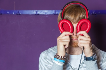 Funny looking man with headphone eyes Stock Photo - 16467640