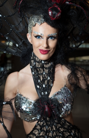 drag queen: Woman in fashion clothes ready for stage performance