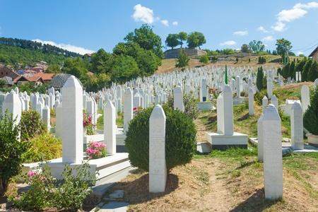 bosna: Muslim graveyard in Sarajevo, Bosnia and Herzegovina