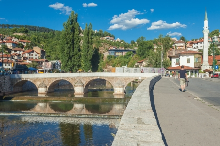 Bridge on Miljacka river in Sarajevo the capital city of Bosnia and Herzegovina