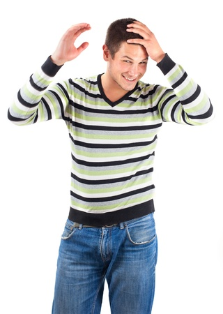 Young man with striped sweater on white background Stock Photo - 16617746