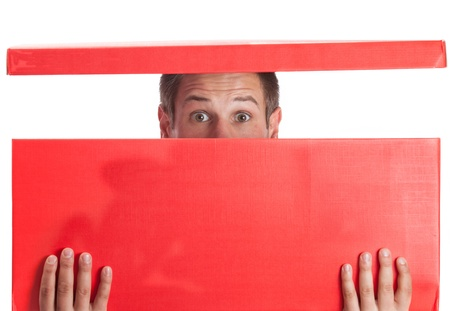 Surprised man with head in red box Stock Photo - 16622946
