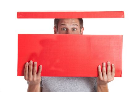 Surprised man with head in red box photo