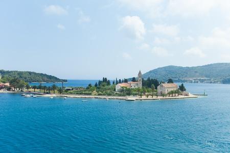 priory: Small Catholic monastery on island Vis, Croatia  Stock Photo