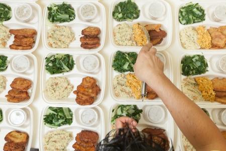 Varias porciones de alimentos frescos que se repartió en bandejas individuales Foto de archivo - 16814947