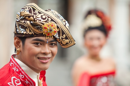 BALI - JANUARY 29. Performers enacting wedding scene in preparation for religious ceremony on January 29, 2012 in Bali, Indonesia. Most Balinese get married in their early 20s. Editorial